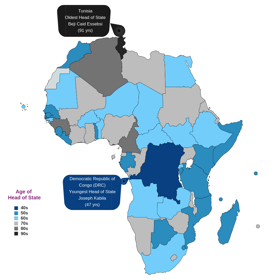 Is Age Just a Number? How Old Are Africa's Presidents?(Map + Infographic)